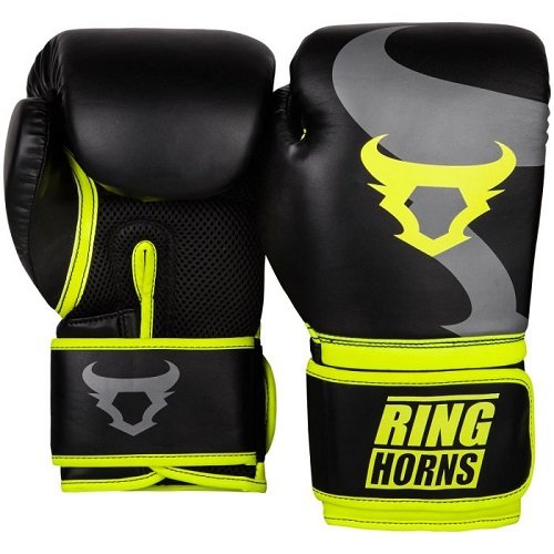 Boxerské rukavice Charger Black/Neo Yellow Ringhorns